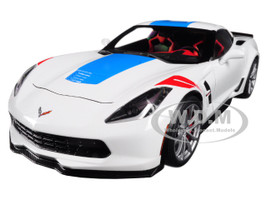 2017 Chevrolet Corvette C7 Grand Sport White with Blue Stripe and Red Fender Hash Marks 1/18 Model Car Autoart 71271