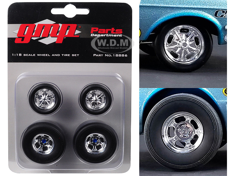 Wheels and Tires Set of 4 from Ohio George's 1967 Ford Mustang Malco Gasser 1/18 GMP 18886