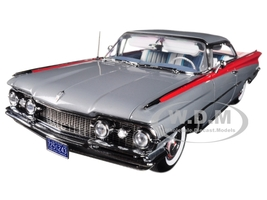 1959 Oldsmobile 98 Hard Top Silver Mist Cardinal Red Platinum Edition 1/18 Diecast Car Model Sunstar 5243