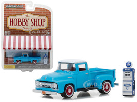 1954 Ford F-100 Blue with Vintage Ford Motor Company Gas Pump The Hobby Shop Series 3 1/64 Diecast Model Car Greenlight 97030 A