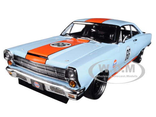 1967 Ford Fairlane Street Fighter Gulf Oil Light Blue with Orange Stripes Limited Edition 1/18 Diecast Model Car GMP 18858