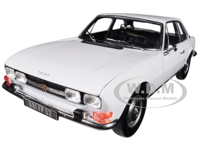 1969 Peugeot 504 Coupe Arosa White 1/18 Diecast Model Car Norev 184825