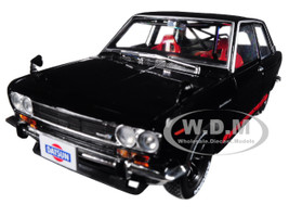 1970 Datsun 510 Auto-Japan Gloss Black with Bright Red Stripes 1/24 Diecast Model Car by M2 Machines 40300-JPN01 A