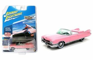 1959 Cadillac Eldorado Convertible Pink Limited Edition to 3600 pieces Worldwide 1/64 Diecast Model Car Johnny Lightning JLCP7045