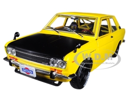1970 Datsun 510 Auto-Japan Yellow with Gloss Black Hood 1/24 Diecast Model Car M2 Machines 40300-JPN01 B