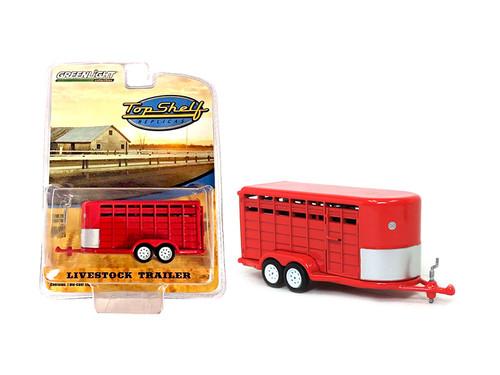 Livestock Trailer Red Top Shelf Replicas Series 1/64 Diecast Model Greenlight 51100