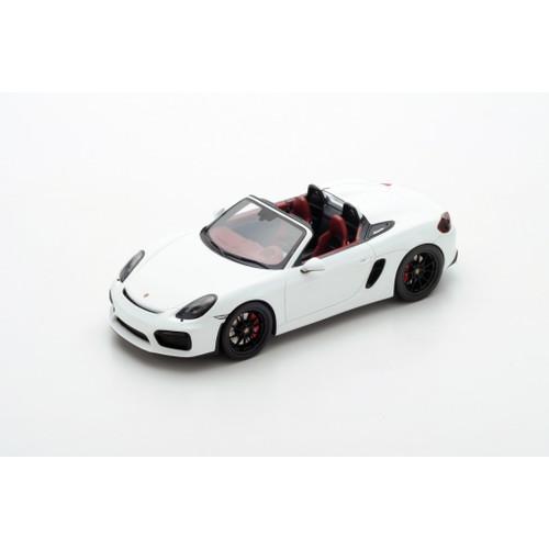 2016 Porsche Boxster Spyder Convertible White 1/18 Model Car Spark 18S237