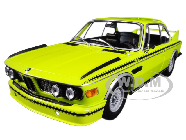 1973 BMW 3.0 CSL E9 Coupe Yellow with Stripes Limited Edition 504 pieces Worldwide 1/18 Diecast Model Car Minichamps 180029028