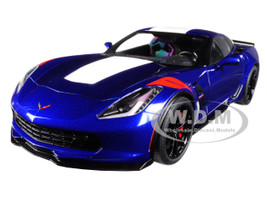 2017 Chevrolet Corvette Grand Sport Admiral Blue with White Stripe and Red Fender Hash Marks 1/18 Model Car Autoart 71275