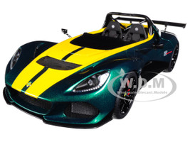 Lotus 3-Eleven Green with Yellow Stripes 1/18 Model Car Autoart 75392