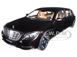 Mercedes Maybach S 600 Pullman Dark Red Metallic 1/18 Model Car Autoart 76299