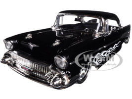 1957 Chevrolet Bel Air Black with Flames 1/24 Diecast Model Car Jada 99965