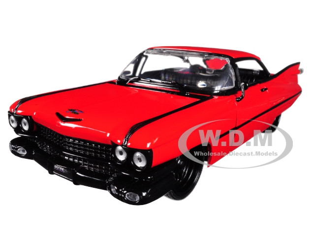 1959 Cadillac Coupe DeVille Red 1/24 Diecast Model Car Jada 99990
