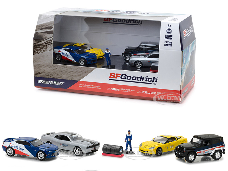 BFGoodrich Performance Tire Shop 6 pieces Set Multi Car Diorama with Figurine and Tire Set 1/64 Diecast Model Cars Greenlight 58046