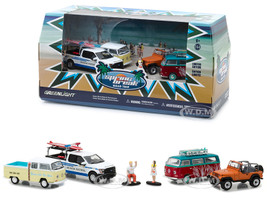 Spring Break Road Trip 6 pieces Set Multi Car Diorama with Figurines 1/64 Diecast Model Cars Greenlight 58047