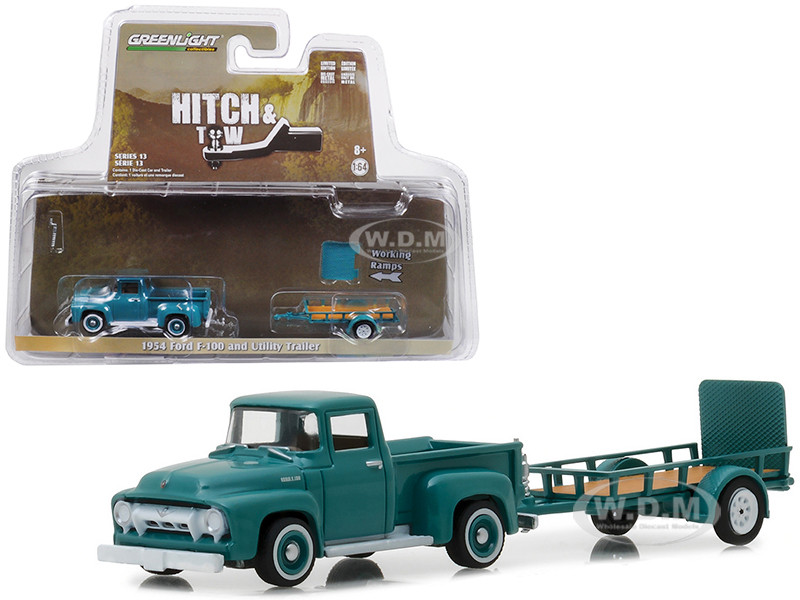 Greenlight Hitch /& Tow 1954 Ford F-100 with Utility Trailer