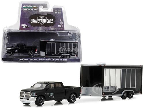 2016 Dodge Ram 2500 and Display Trailer Black Graveyard Carz 2012 TV Series Hitch & Tow Series 13 1/64 Diecast Car Model Greenlight 32130 D