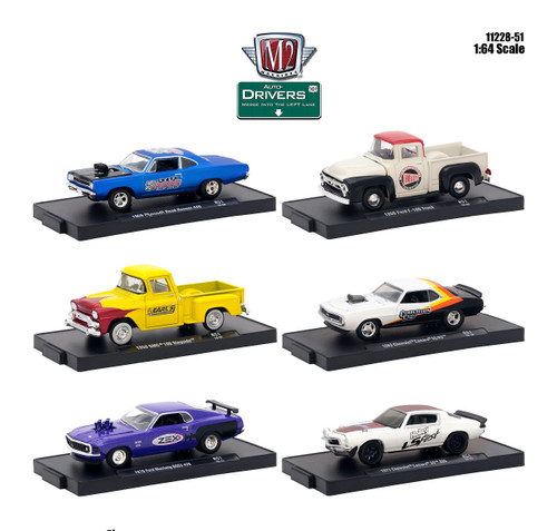 Drivers 6 Cars Set Release 51 in Blister Packs 1/64 Diecast Model Cars M2 Machines 11228-51