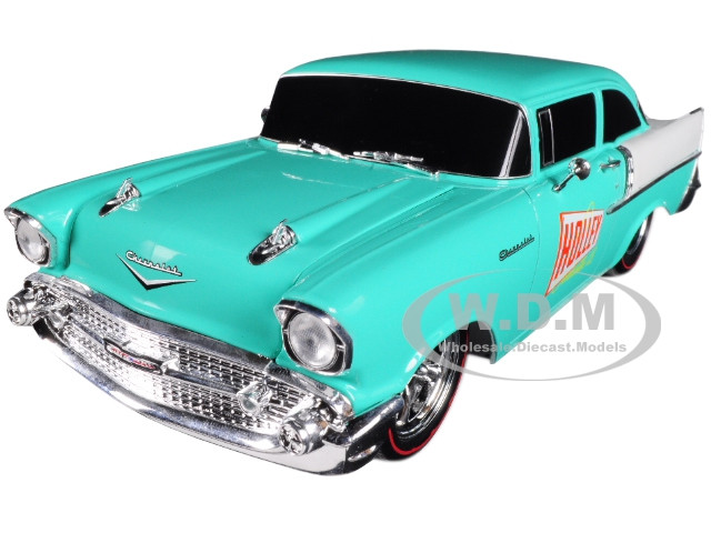 1957 Chevrolet 150 Holley Sea Foam Green And India Ivory 1 24 Diecast Model Car By M2 Machines
