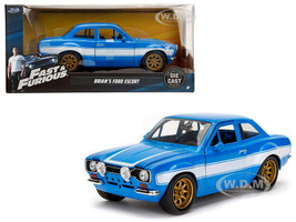 1970 Brian's Ford Escort Blue White Stripes Fast Furious Movie 1/24 Diecast Model Car Jada 99572