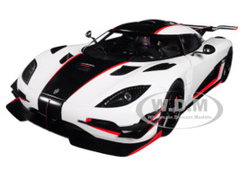Koenigsegg One 1 Pebble White Carbon Black Red Accents 1/18 Model Car Autoart 79016