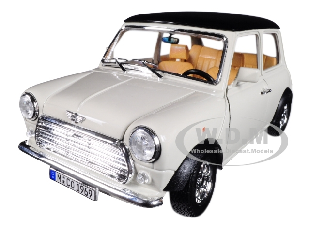 Mini Cooper Models >> 1969 Mini Cooper Beige With Black Top 1 18 Diecast Model Car By Bburago