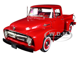 1956 Ford F-100 Pickup Truck High Feature Vermillion Red 1/25 Diecast Model Car First Gear 40-0414