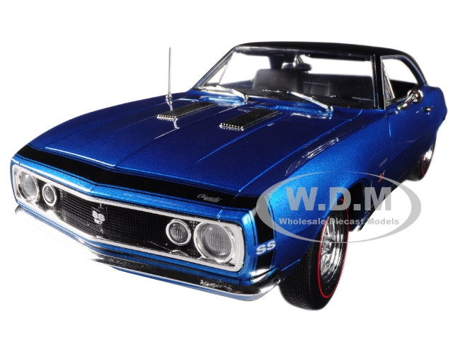 1967 Chevrolet Camaro SS 427 Baldwin Motion Marina Blue Black Hardtop 50th Anniversary Limited Edition 1002 pieces Worldwide 1/18 Diecast Model Car Autoworld AMM1118