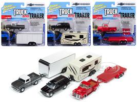 Truck and Trailer Series 2 Set 3 Trucks Chevrolet Trucks 100th Anniversary 1/64 Diecast Model Cars Johnny Lightning JLBT007 A