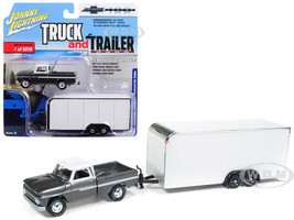 1965 Chevrolet Pickup Truck Dark Silver Enclosed Car Trailer Limited Edition 6016 pieces Worldwide Truck and Trailer Series 2 Chevolet Trucks 100th Anniversary 1/64 Diecast Model Car Johnny Lightning JLSP017