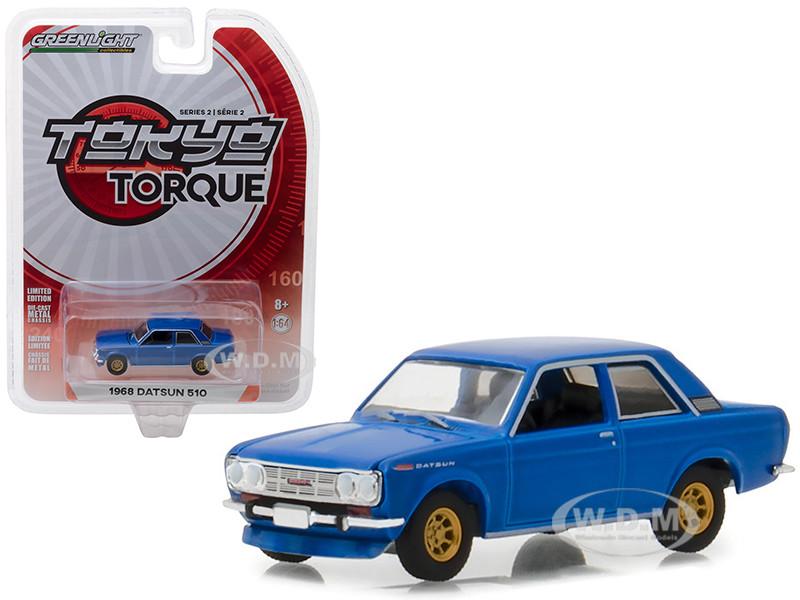 1968 Datsun 510 Street Racer Blue Gold Wheels Tokyo Torque Series 2 1/64 Diecast Model Car Greenlight 29900 A
