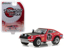 1971 Datsun 240Z Rally #11 Edgar Hermann and Hans Schuller East African Safari Rally Tokyo Torque Series 2 1/64 Diecast Model Car Greenlight 29900 D