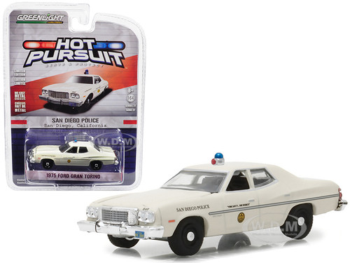 1975 Ford Gran Torino Police San Diego California Hot Pursuit Series 27 1/64 Diecast Model Car Greenlight 42840 A