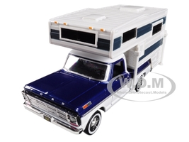 1969 Ford F-100 Pickup Truck Slide In Camper Blue White 1/24 Diecast Model Motormax 75335