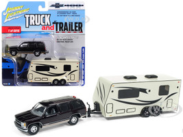 1997 Chevrolet Tahoe Dark Cherry Camper Trailer Limited Edition 6016 pieces Worldwide Truck and Trailer Series 2 Chevrolet Trucks 100th Anniversary 1/64 Diecast Model Car Johnny Lightning JLSP016