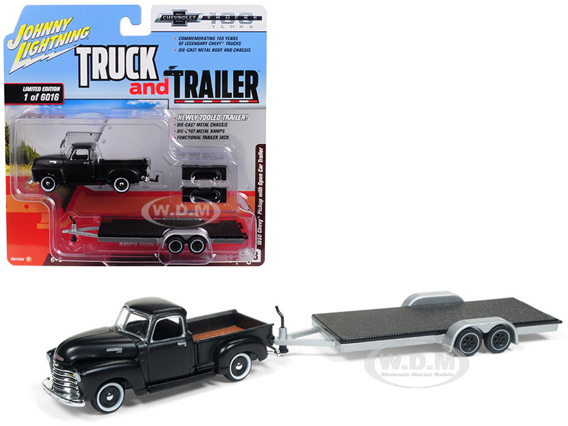 1950 Chevrolet Pickup Truck Black Open Car Trailer Limited Edition 6016 pieces Worldwide Truck and Trailer Series 2 Chevrolet Trucks 100th Anniversary 1/64 Diecast Model Car Johnny Lightning JLSP021