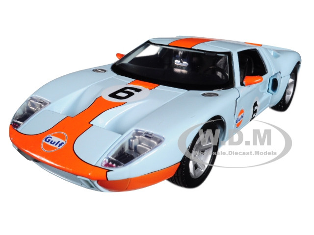 Ford GT Concept #6 Gulf Light Blue Orange Stripe 1/24 Diecast Model Car Motormax 79641