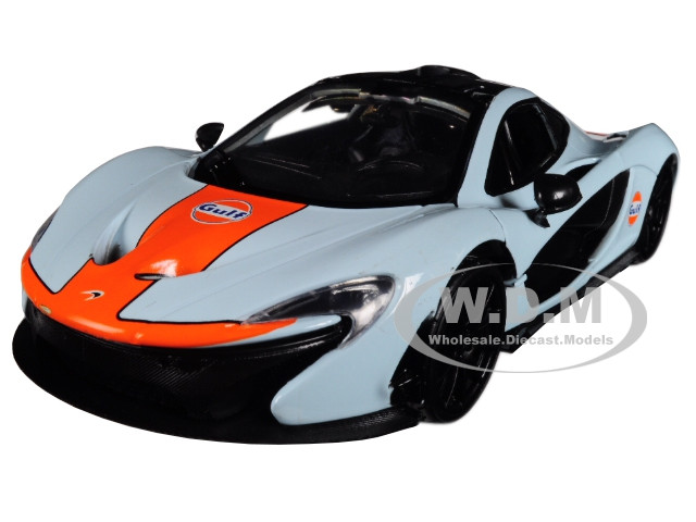 McLaren P1 Gulf Light Blue Orange Stripe 1/24 Diecast Model Car Motormax 79642