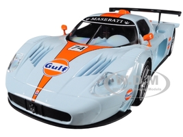 Maserati MC 12 Corsa #74 Gulf Light Blue Orange Stripe 1/24 Diecast Model Car Motormax 79643