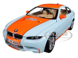 BMW M3 Coupe Gulf Light Blue Orange Stripe 1/24 Diecast Model Car Motormax 79644