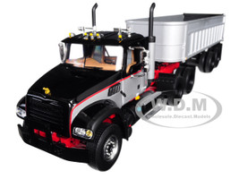 Mack Granite with End Dump Trailer Black Silver 1/34 Diecast Model First Gear 10-4143