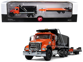 Mack Granite MP Tandem Axle Dump Truck Beavertail Trailer Orange Black 1/50 Diecast Model First Gear 50-3403