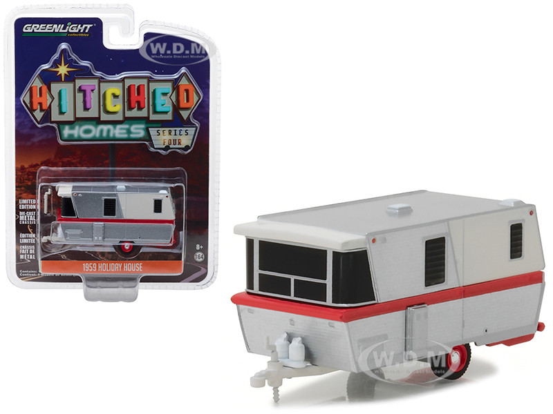 1959 Holiday House Travel Trailer Silver Red Stripe Hitched Homes Series 4 1/64 Diecast Model Greenlight 34040 A