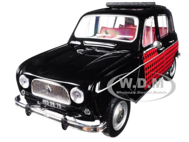 1964 Renault 4 Parisienne Black Red 1/18 Diecast Model Car Norev 185242