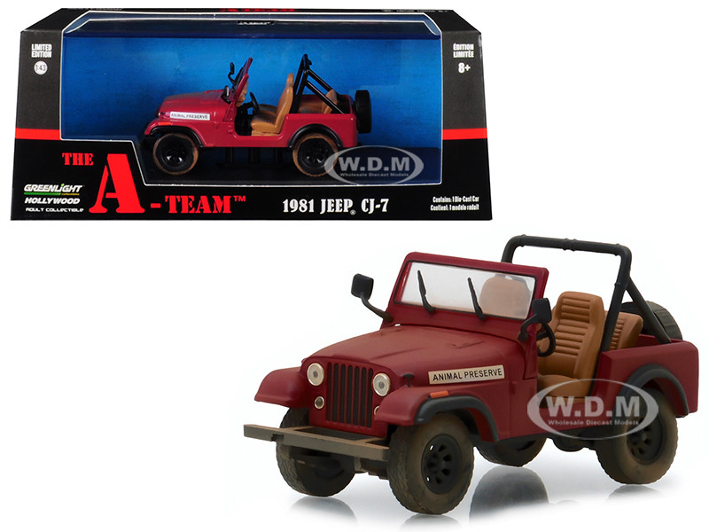 1981 Jeep CJ-7 Animal Preserve Red The A-Team 1983 1987 TV Series 1/43 Diecast Model Car Greenlight 86528
