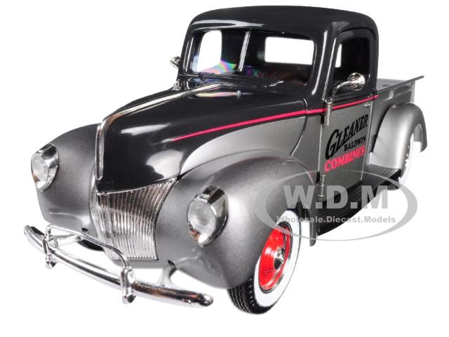 1940 Ford Gleaner Pickup Truck Silver Black Top 1/25 Diecast Model Car Speccast 64131