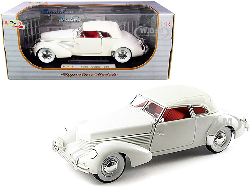 1936 Cord 810 Coupe White Red Interior 1/18 Diecast Model Car Signature Models 18108