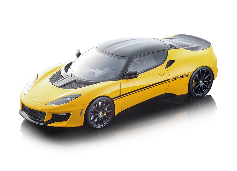 2017 Lotus Evora 410 Sport Metallic Yellow Carbon Top Mythos Series Limited Edition 90 pieces Worldwide 1/18 Model Car Tecnomodel TM18-111 A