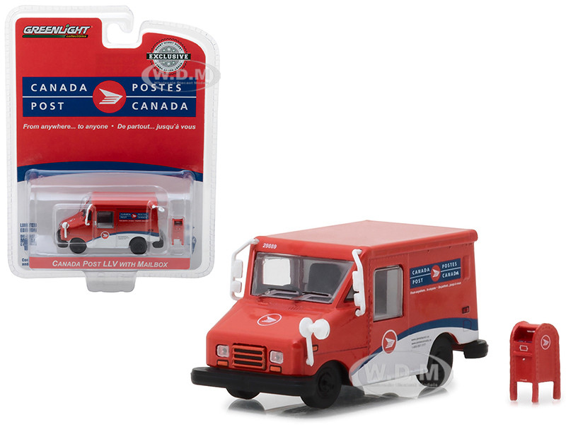 Canada Postal Service Canada Post Long Life Postal Mail Delivery Vehicle LLV Mailbox Accessory Hobby Exclusive 1/64 Diecast Model Car Greenlight 29889