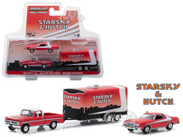 1972 Ford F-100 1976 Ford Gran Torino Enclosed Car Hauler Starsky and Hutch 1975 1979 TV Series Hollywood Hitch and Tow Series 5 1/64 Diecast Model Greenlight 31060 A
